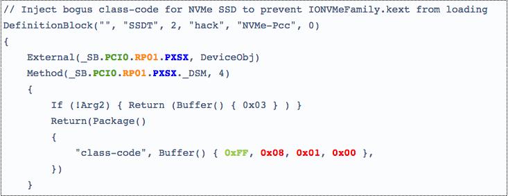 Installer un SSD NVme (méthode avec SSDT) - Forums MacBidouille